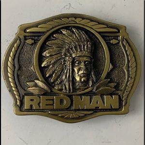 Vintage Red Man tobacco belt buckle